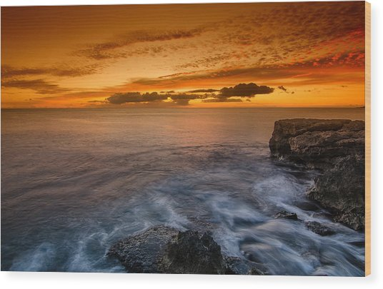 Sunset By The Cliff Wood Print