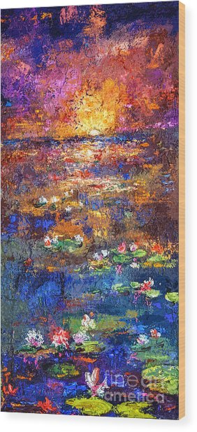 Sunset By The Lily Pond Wood Print
