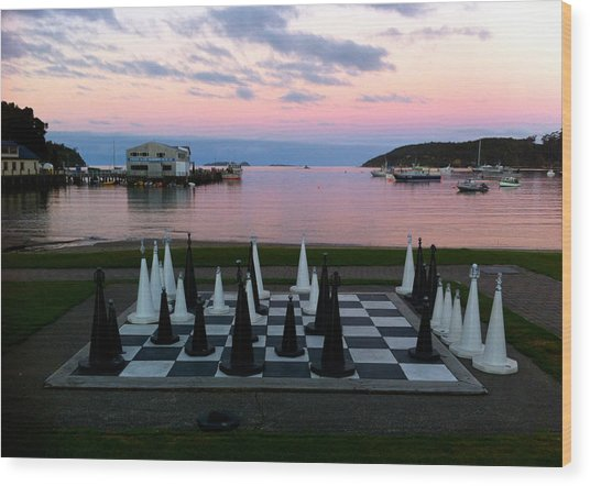 Sunset Chess At Half Moon Bay Wood Print