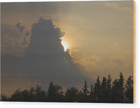 Sunset Cloud Wood Print