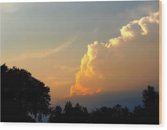 Sunset Clouds Building Wood Print
