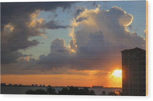 Sunset Shower Sarasota Wood Print