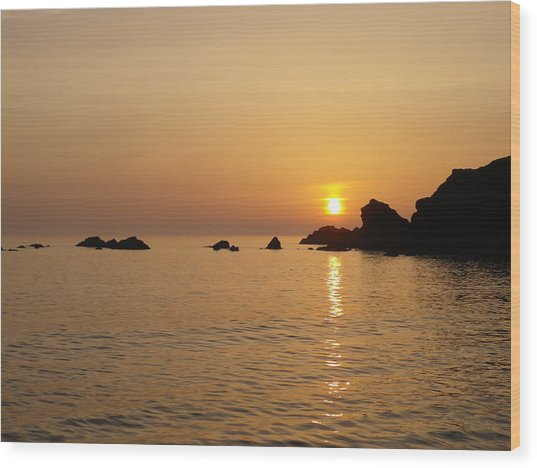 Sunset Crooklets Beach Bude Cornwall Wood Print