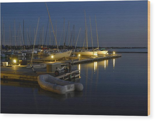 Sunset Dock Wood Print