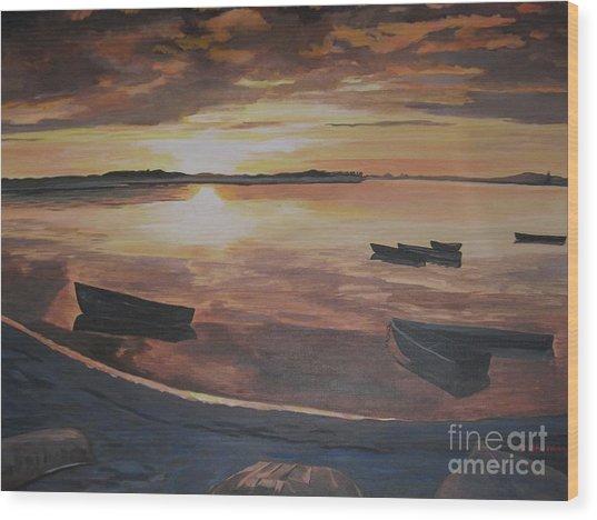 Sunset Evening Tide Wood Print