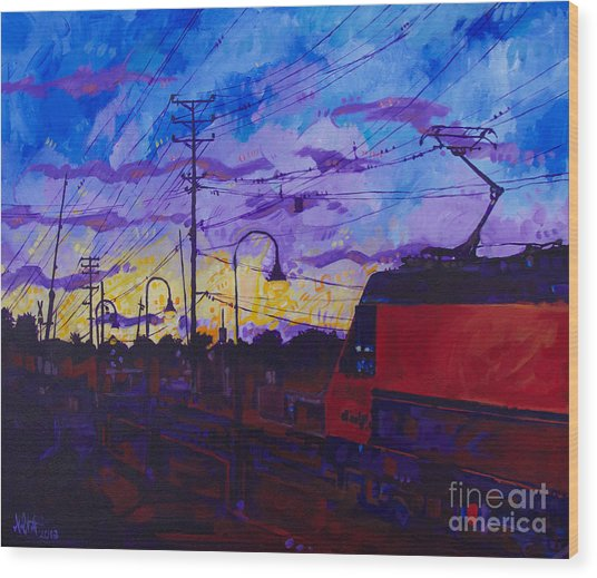 Sunset Express Wood Print