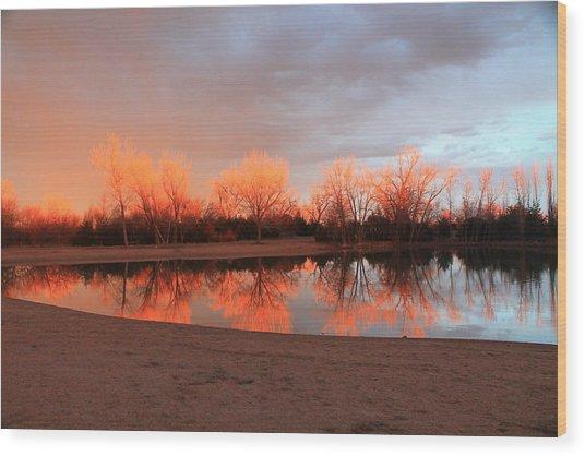 Sunset Fire Wood Print