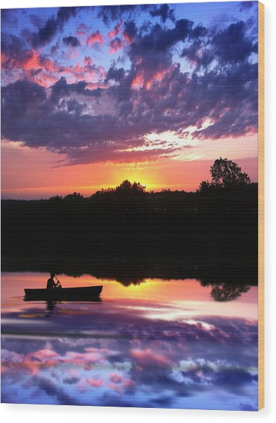 Sunset Fisherman Wood Print