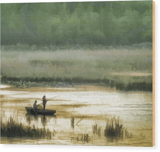 Sunset Fishing On The Volga Wood Print by Glen Glancy