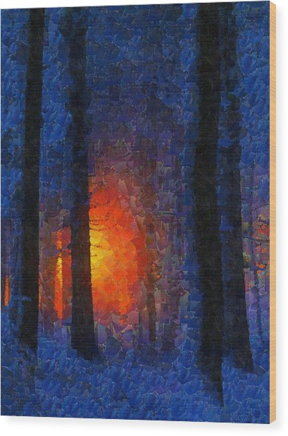 Sunset Forest Winter Wood Print