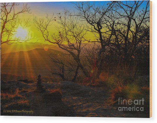 Sunset From Blood Mountain Wood Print