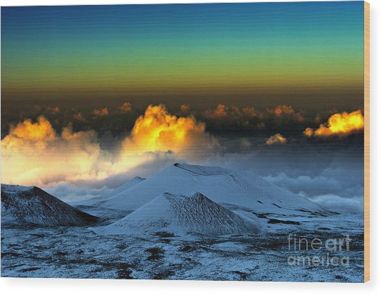 Sunset From Mauna Kea Wood Print by Karl Voss