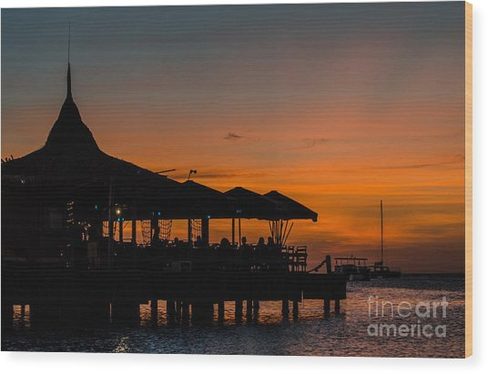 Sunset From Pelican Pier Wood Print