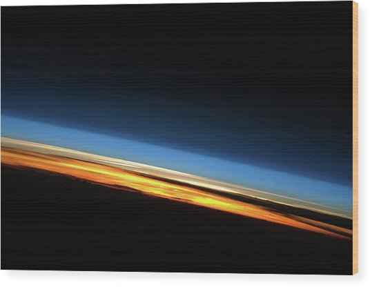 Sunset From Space Wood Print