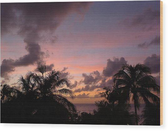 Sunset From Terrace 3 St. Lucia Wood Print
