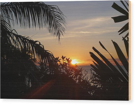 Sunset From Terrace - St. Lucia Wood Print