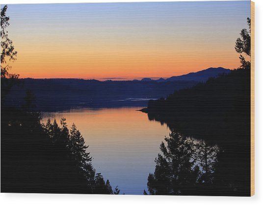 Sunset From The Deck Wood Print