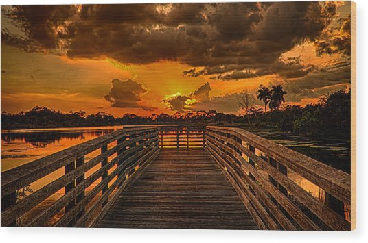 Sunset From The Dock Wood Print