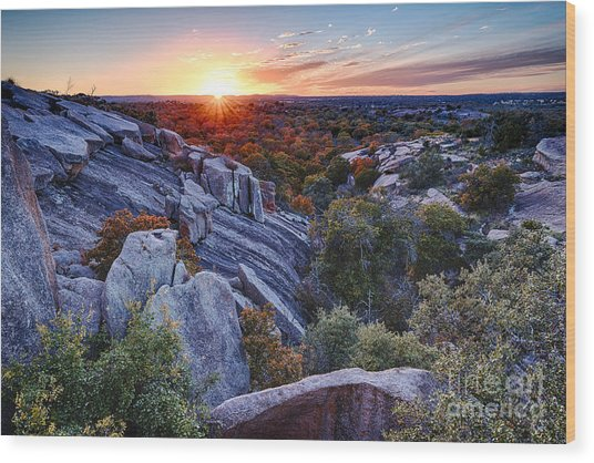 Sunset From The Top Of Little Rock At Enchanted Rock State Park - Fredericksburg Texas Hill Country Wood Print