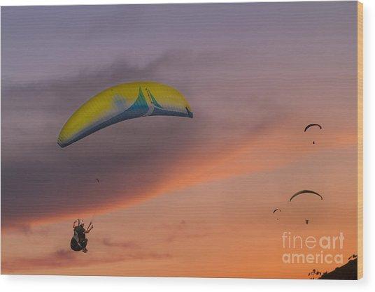 Sunset Gliders Wood Print by Soren Egeberg