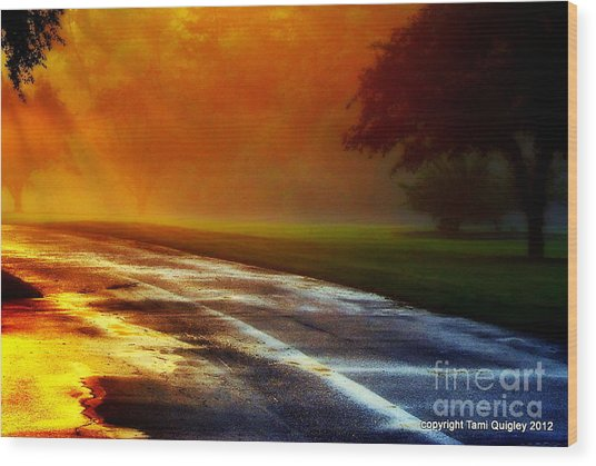 Sunset Glint In The Mist Wood Print