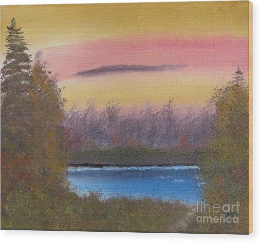 Sunset Haze Wood Print by Dave Atkins