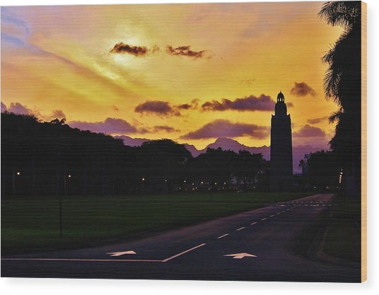 Sunset Hickam Air Force Base Freedom Tower Wood Print