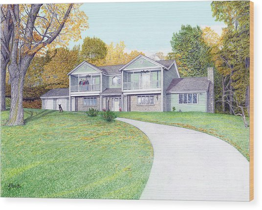 Sunset House In Fall Wood Print