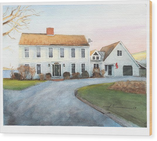 Sunset House Watercolor Portrait Wood Print by Mike Theuer
