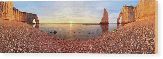 Sunset In A?tretat Wood Print by Valeriy Shcherbina