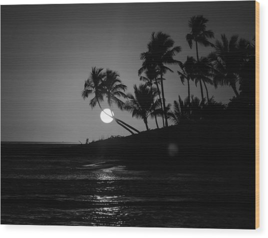 Sunset In Black And White Wood Print