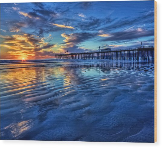 Sunset In Blue Wood Print