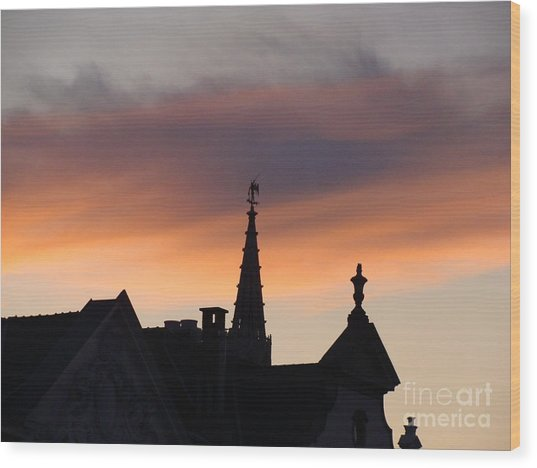 Sunset In Brussels Wood Print