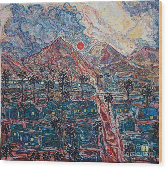 Sunset In California Wood Print
