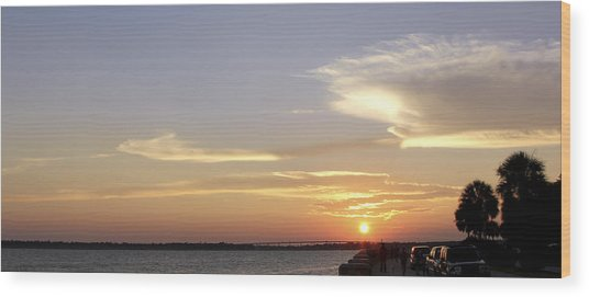 Sunset In Charleston Wood Print