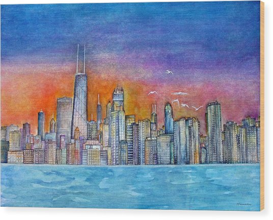 Sunset In Chi Town Wood Print