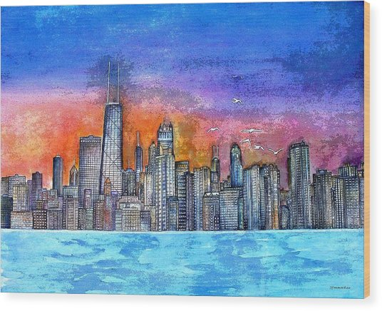 Sunset In Chicago Wood Print