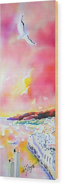Sunset In Costa Brava Wood Print