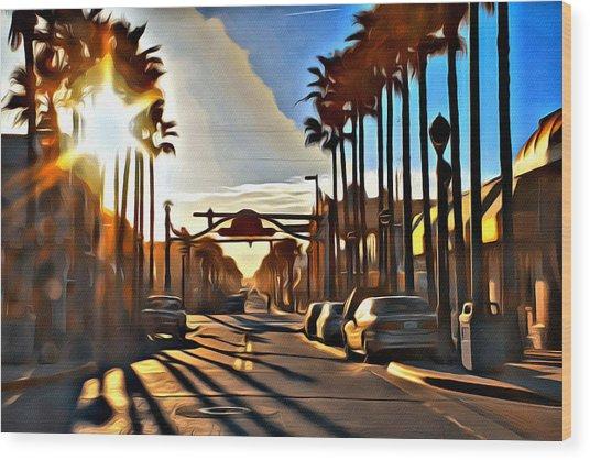 Sunset In Daytona Beach Wood Print