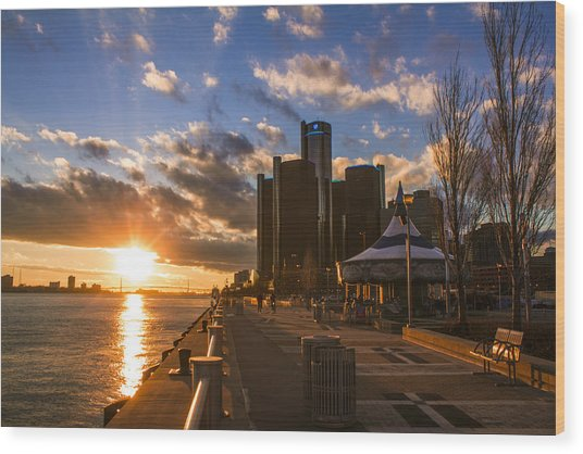 Sunset In Detroit  Wood Print