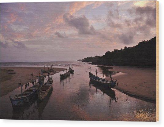 Sunset In Ghana Wood Print by Manu G