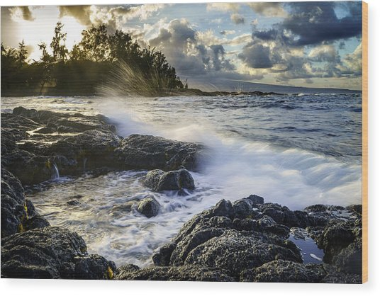 Big Island - Sunset In Hilo Wood Print