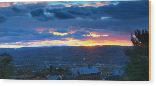 Sunset In Ithaca New York Panoramic Photography Wood Print