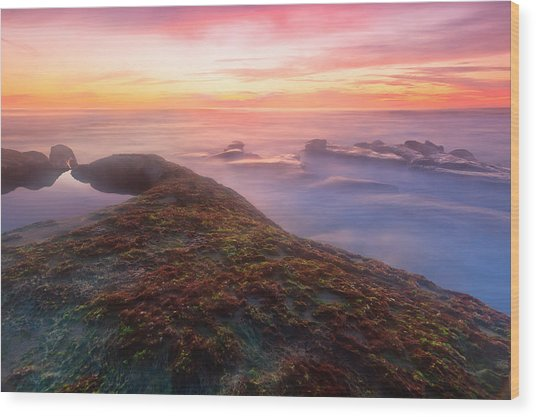 Sunset In La Jolla Wood Print