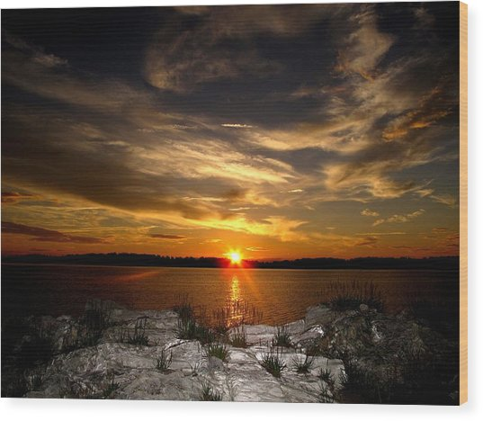 Sunset In Maine Wood Print