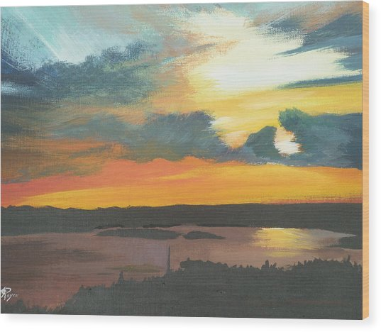 Sunset In Motion Wood Print by Lori Royce