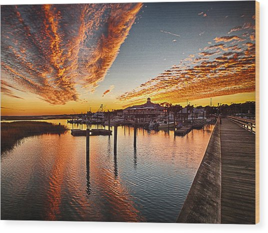 Sunset In Murells Inlet Wood Print