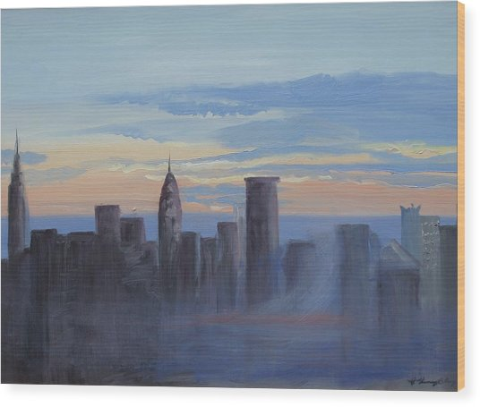 Sunset In New York Wood Print by Patricia Kimsey Bollinger