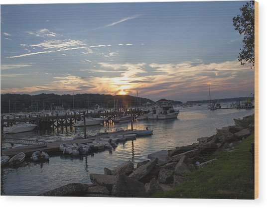 Sunset In Northport Wood Print