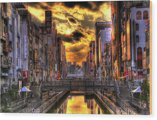 Sunset In Osaka Wood Print by SEOS Photography
